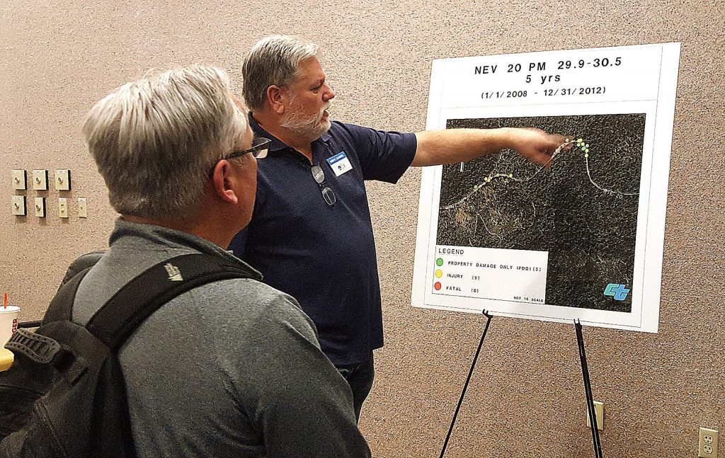 Caltrans Transportation Engineer Darryl Chambers discusses the accident rates on Highway 20 at White Cloud campground at a workshop Monday at the Eric Rood Administrative Center. A highway safety project to straighten out curves there and at Lowell Hill is slated to start in fall 2021.