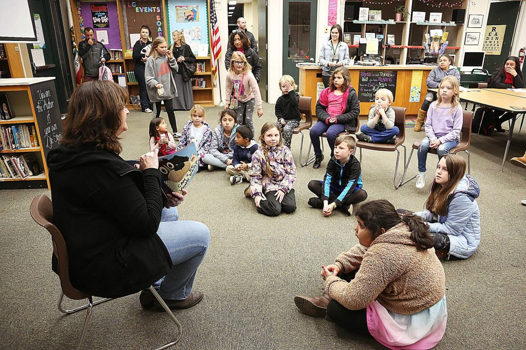 Grass Valley Mayor Lisa Swarthout was one of a handful of guest readers during Wednesday's Grass Valley School District Family Literacy Night at Lyman Gilmore School.