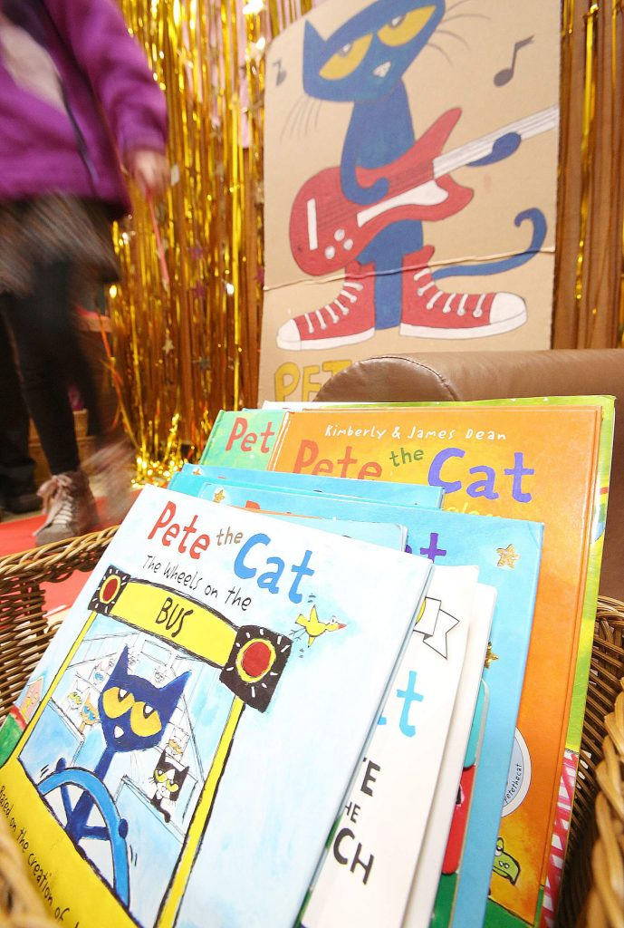A selection of Pete the Cat books were on display and available for attendees of Wednesday's Family Literacy Night held at Lyman Gilmore School.