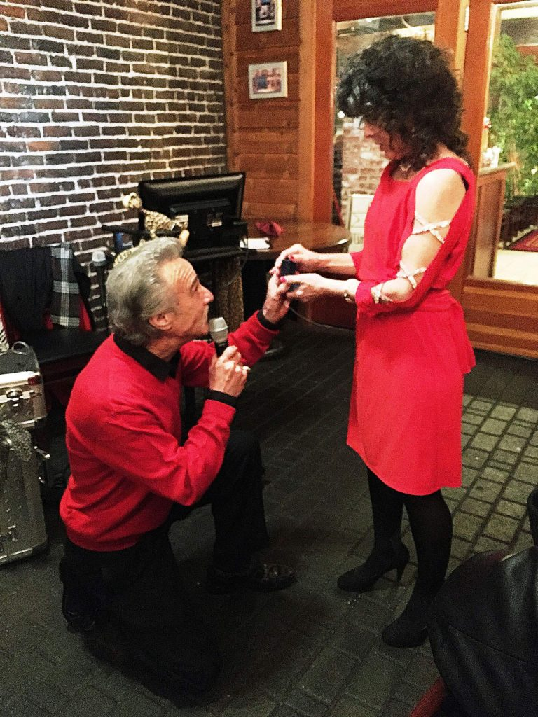 Skip Tozzi popped the question to Linda Frazier at the annual Valentine's Day dinner celebration at Tofanelli's Restaurant.