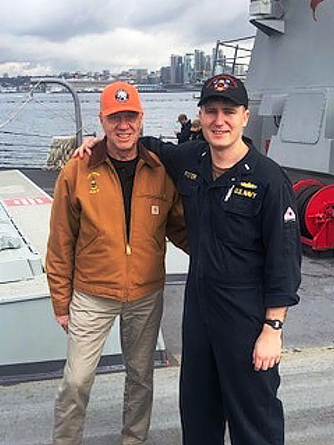 "Retired Grass Valley Police Chief John Foster joined his son Ryan, a Lt. Jr. in the U.S. Navy, on a ""Tiger Cruise"" aboard the USS Gridley."