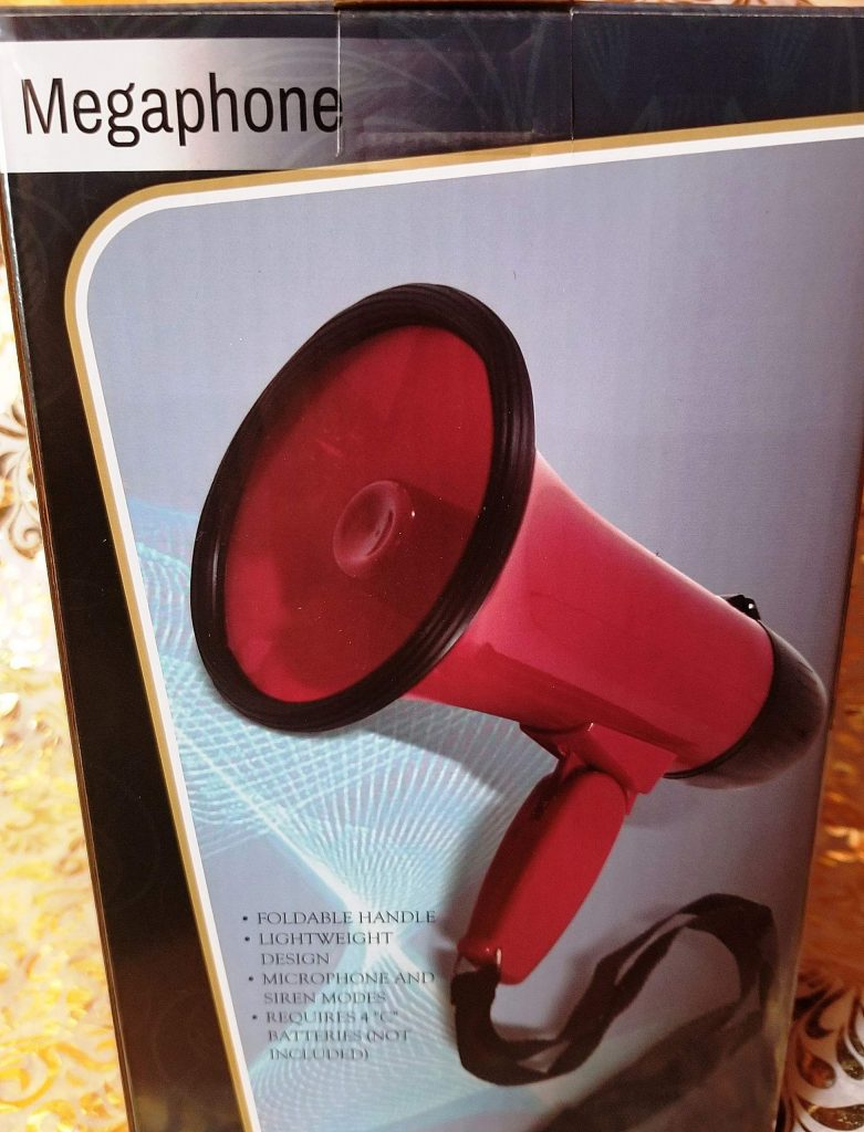 The list of children's gifts guaranteed to drive their parents crazy includes a megaphone complete with siren.