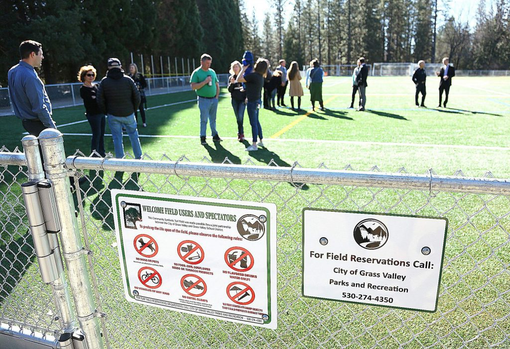 Grass Valley city officials, school district dignitaries and members of the community came together Tuesday morning to dedicate the new synthetic turf field installed at Lyman Gilmore School. The $1.5 million joint project between the Grass Valley School District and Grass Valley will help improve recreational opportunities for the public.