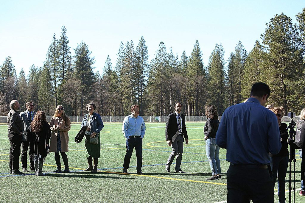 Grass Valley and school district officials marked the official opening of the Lyman Gilmore synthetic turf fields Tuesday morning.