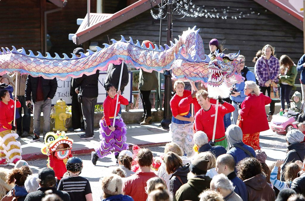 Members of the Eastern Ways Martial Arts group out of Sacramento lead the annual Chinese Lunar New Year Parade to the Miners Foundry where a free festival was held to the public courtesy of the Community Asian Theatre of the Sierra.