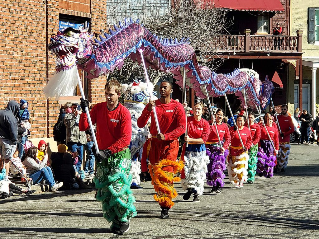 The starting of the Chinese New Year parade in Nevada City on a sunny Sunday.