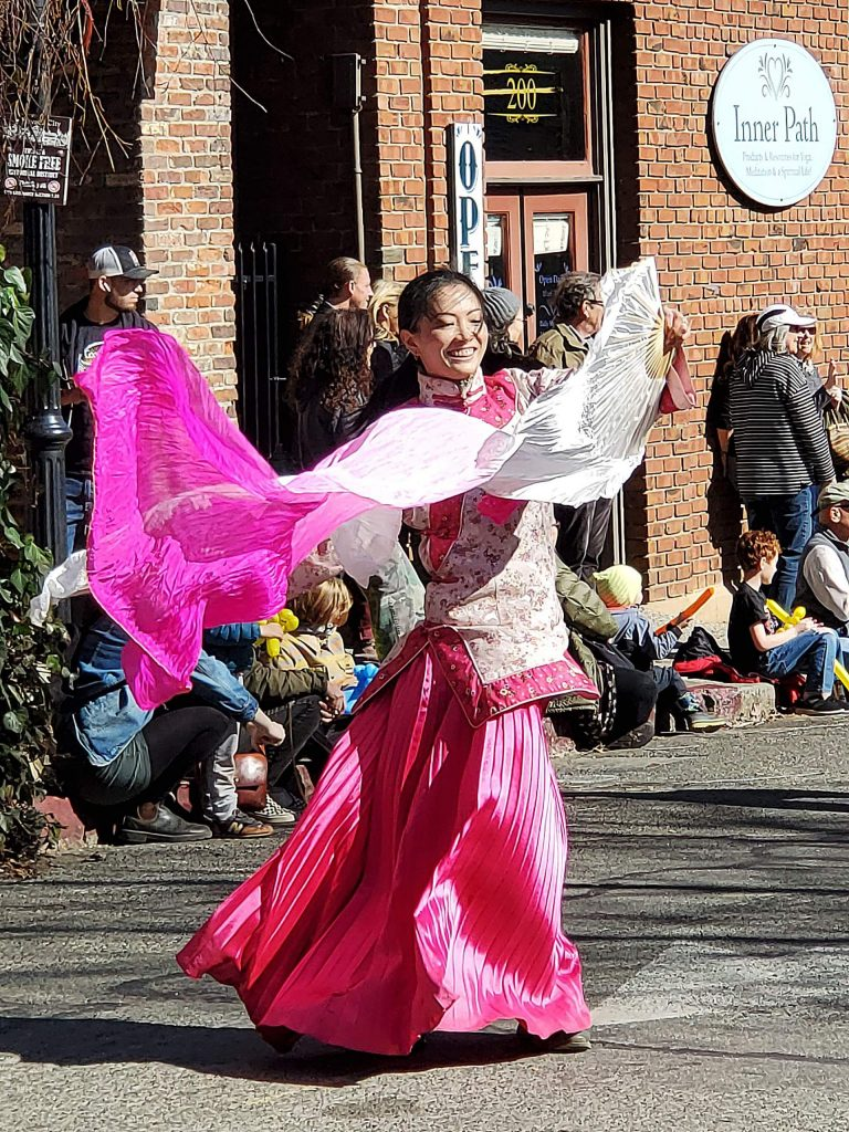 Lovely dancer in the Chinese New Year parade in Nevada City on Sunday.