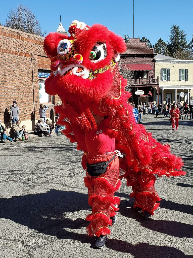 Eye-catching dancers at the Chinese New Year parade in Nevada City on Sunday.
