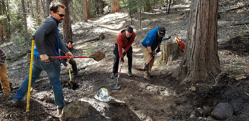 Bicyclists of Nevada County (BONC) volunteers upgrading the drainage on Scott's Flat Trail.