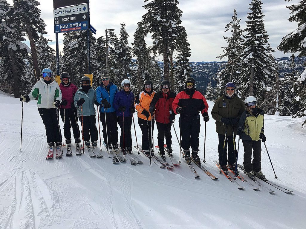 A group of friends from Nevada County, all advanced skiers, at the top of Mt. Disney!