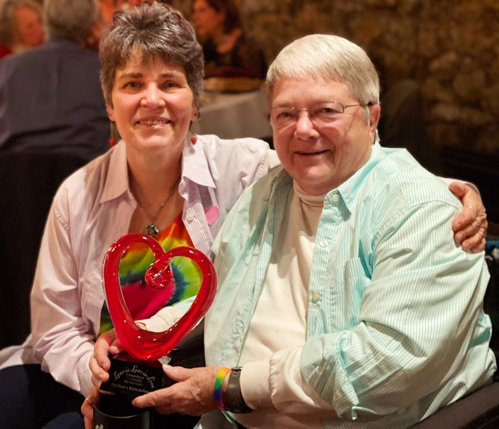 """At the first Love is Love is Love Dinner and Dance at the Miner's Foundry on February 14th, Pat Rose and Karle deProsse were awarded the first """"Extraordinary Community Service Award"""" for their work with PFLAG Nevada County over the last 15 years."""
