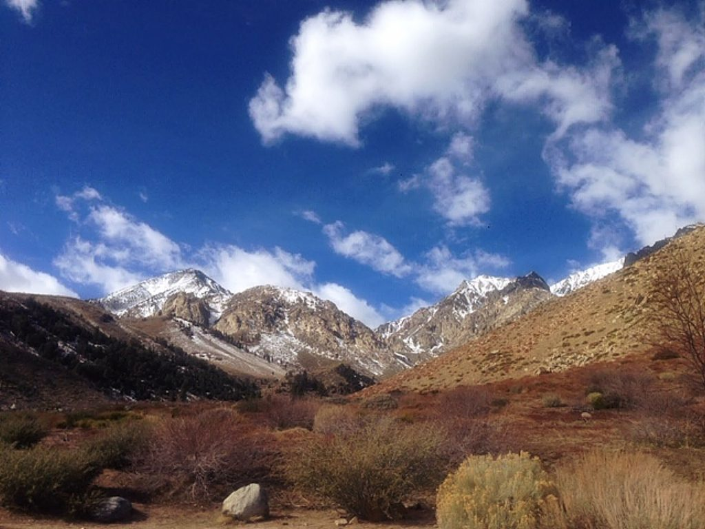 February fair weather over trail to Baxter Pass, Eastern Sierra Nevada.