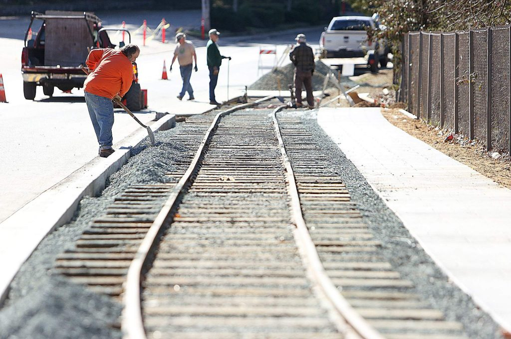 A narrow gauge rail car will be on display along the 300 foot section of track that the Narrow Gauge Railroad Museum volunteers are constructing along Sacramento Street. Plans eventually include connecting the track with the railroad museum off of Kidder Court.