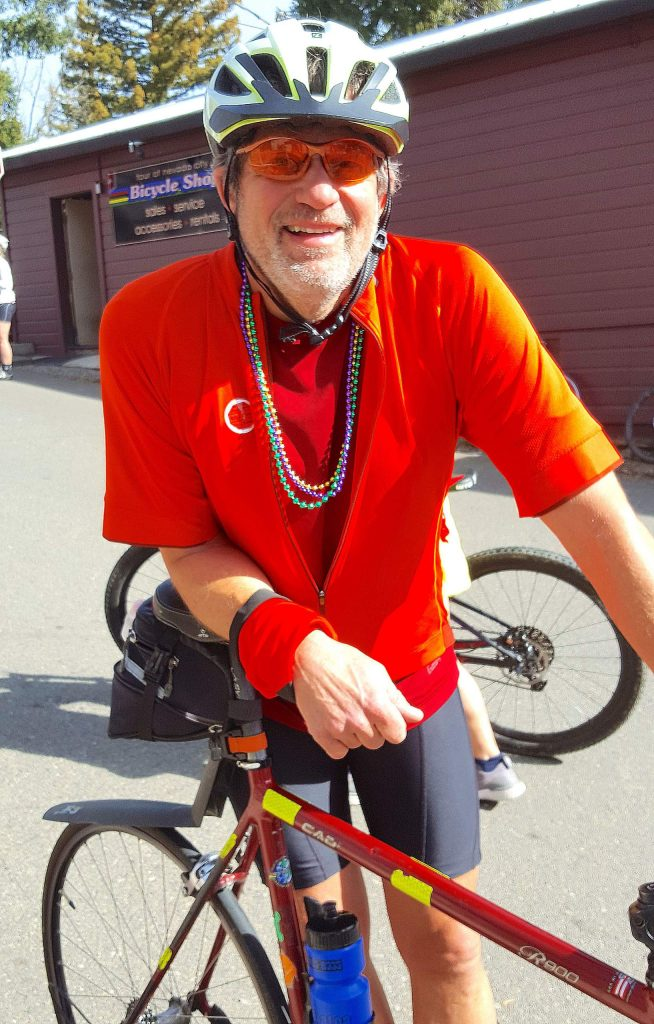 Nevada City resident Marc Nix waits for the start of the 10th annual Jim Rogers Memorial Ride & Run.