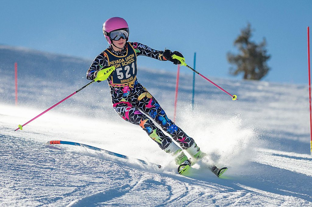 Nevada Union's Sofia Goodwin placed 10th at a slalom race held at Boreal Monday.