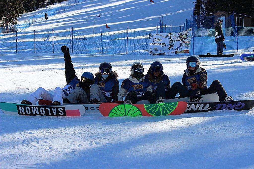 Nevada Union snowboarders (left to right) Giorgia Glassford, Hannah Montgomery, Linden Lovett, Hazel Kyle and Phoebe Bertran at a giant slalom event at Northstar on Monday.