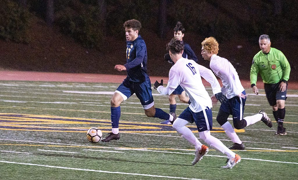Nevada Union's Josh Smith scored three goals in the Miners playoff win over Rosemont Monday night.