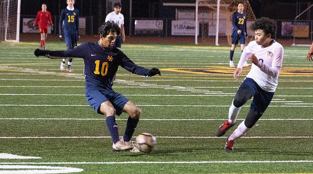 Nevada Union's Moises Tovar controls the ball during the Miners playoff win over Rosemont Monday night at Hooper Stadium.