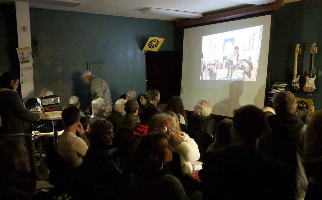 Short films about the Sunrise Movement as well as the Green New Deal were shown during the movement's gathering at NEO.