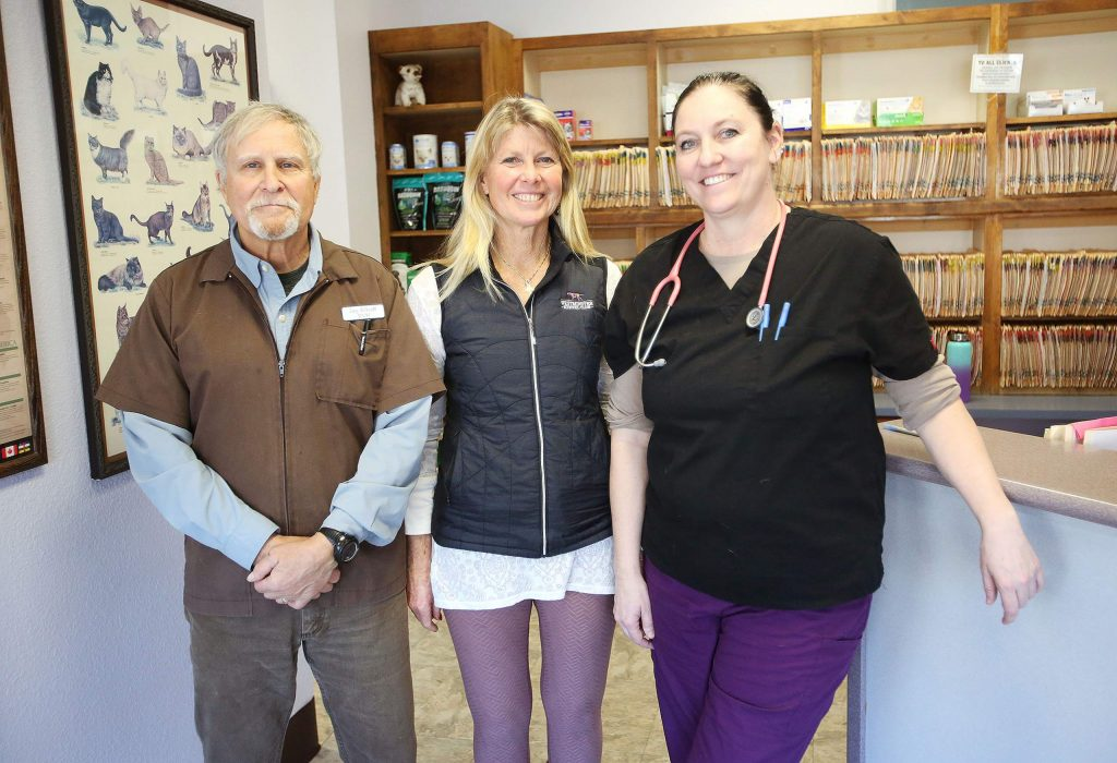 Dr. Jay Schuff, Dr. Rebecca Hahn and Dr. Tarra Williams are happy to re-open Brunswick Veterinary Clinic in their original location in the Glenbrook basin.