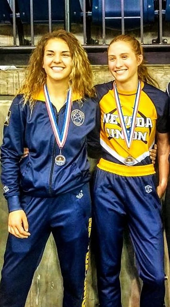 Amanda Beall, left, and Mackenzie Morgan will represent Nevada Union at the CIF State Championships, which starts today and run through Saturday. It's the first time in NU school history that two female wrestlers have qualified for the State Championships in the same season.
