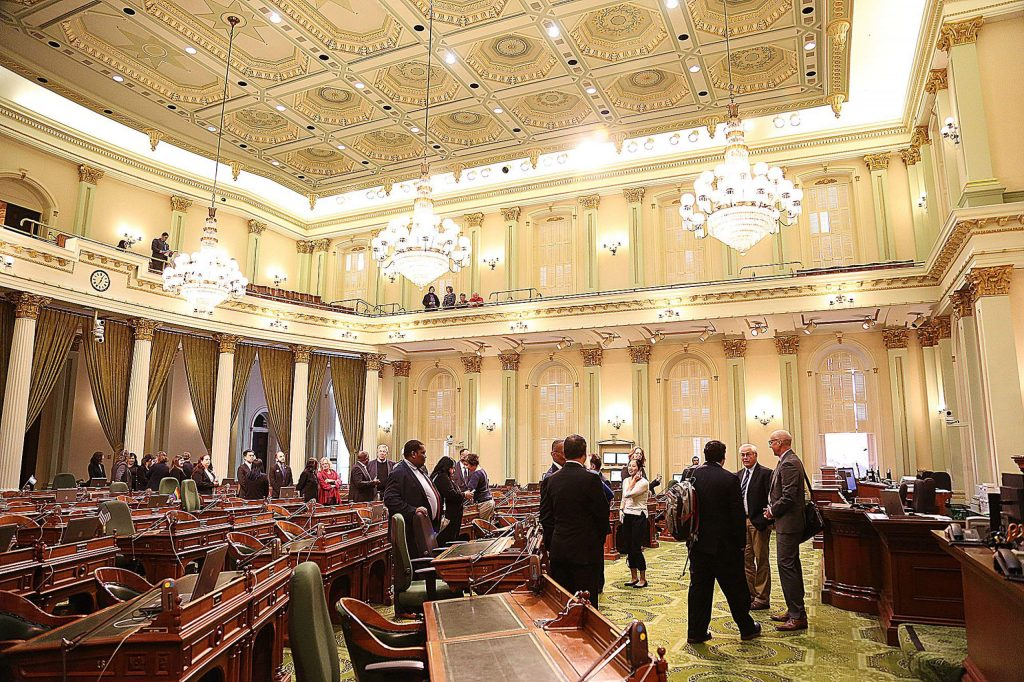 The California State Legislature Assembly room floor was the scene of Monday's resolution made in honor of Amanda and Nick Wilcox.