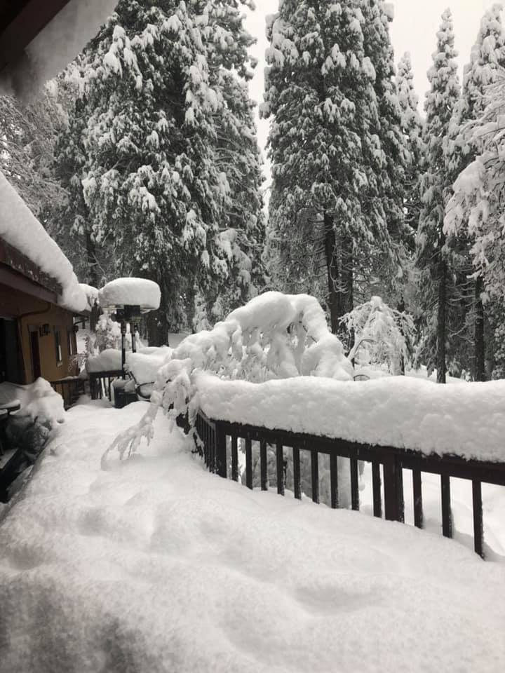 At 3,400 feet, three miles north of Nevada City on Highway 20. About 2 1/2 feet of snow in past 48 hours.