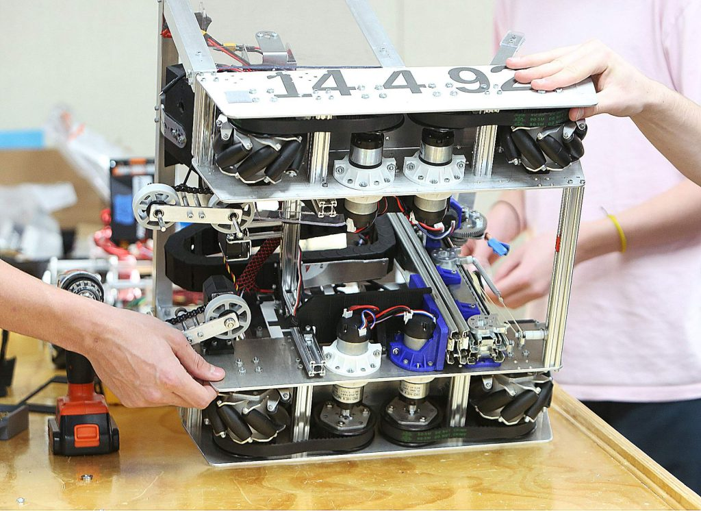 """Many parts on Team ARES' """"Jank Tank"""" were custom machined as well as 3-D printed."""
