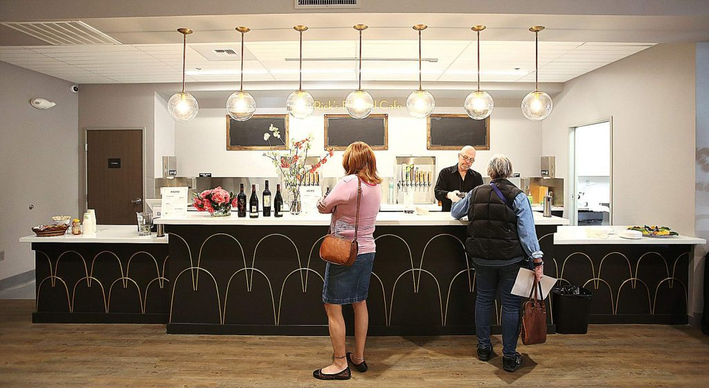 Folks get their choice of beverage from the expanded concession and lobby area of The Center For the Arts' remodeled downtown Grass Valley location.