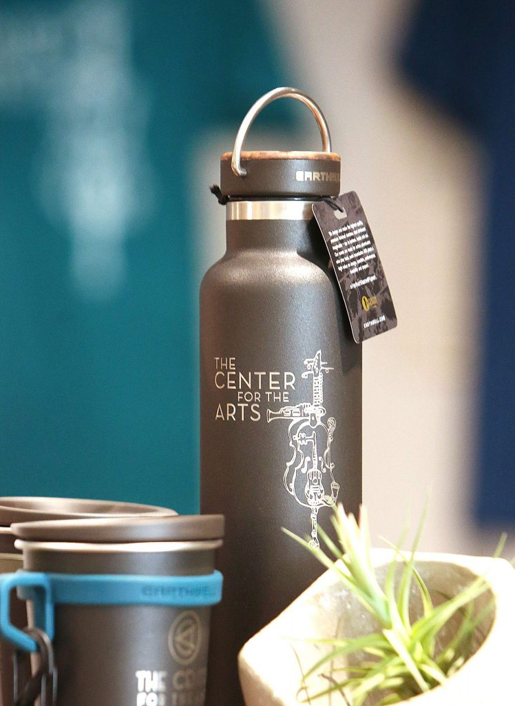 Merchandise including water bottles and shirts are available to help support The Center For the Arts.