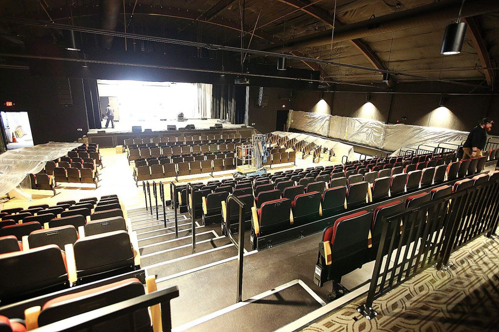 Finishing touches are being placed on The Center For the Arts' new auditorium with expanded seating.
