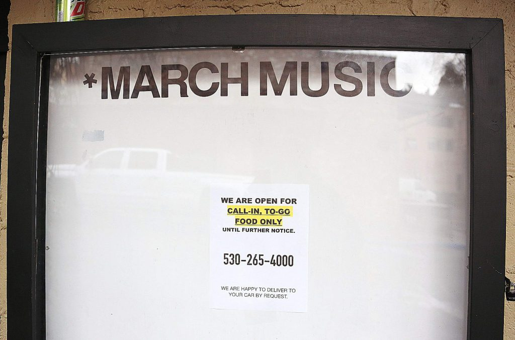 The Crazy Horse Inn's March music marquee is left with a sign letting customers know that call in and to-go orders can still be made.