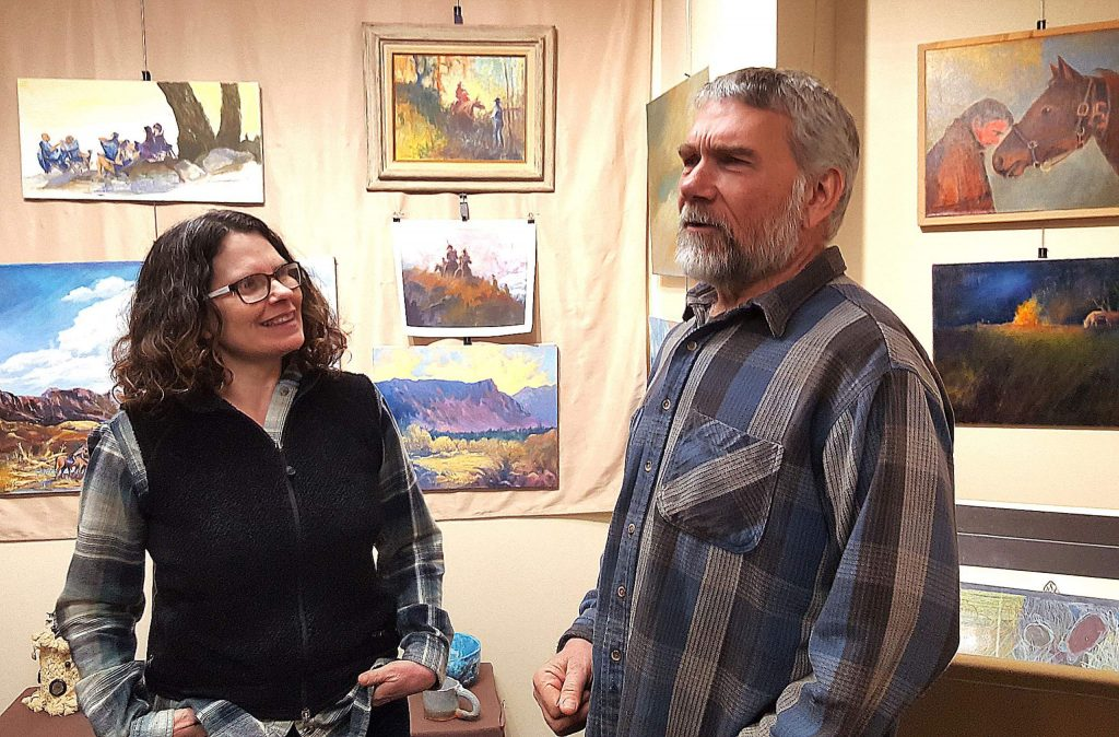 Dayna and Greg Demeter talk about the show of works by his parents, Ernie and Betty, and sister Elaine, at Neighborhood Center of the Arts. Greg has donated the works and proceeds will go to support the art programs at the center.