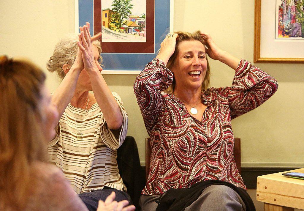 Nevada City Mayor Reinette Senum reacts as the election results come in.