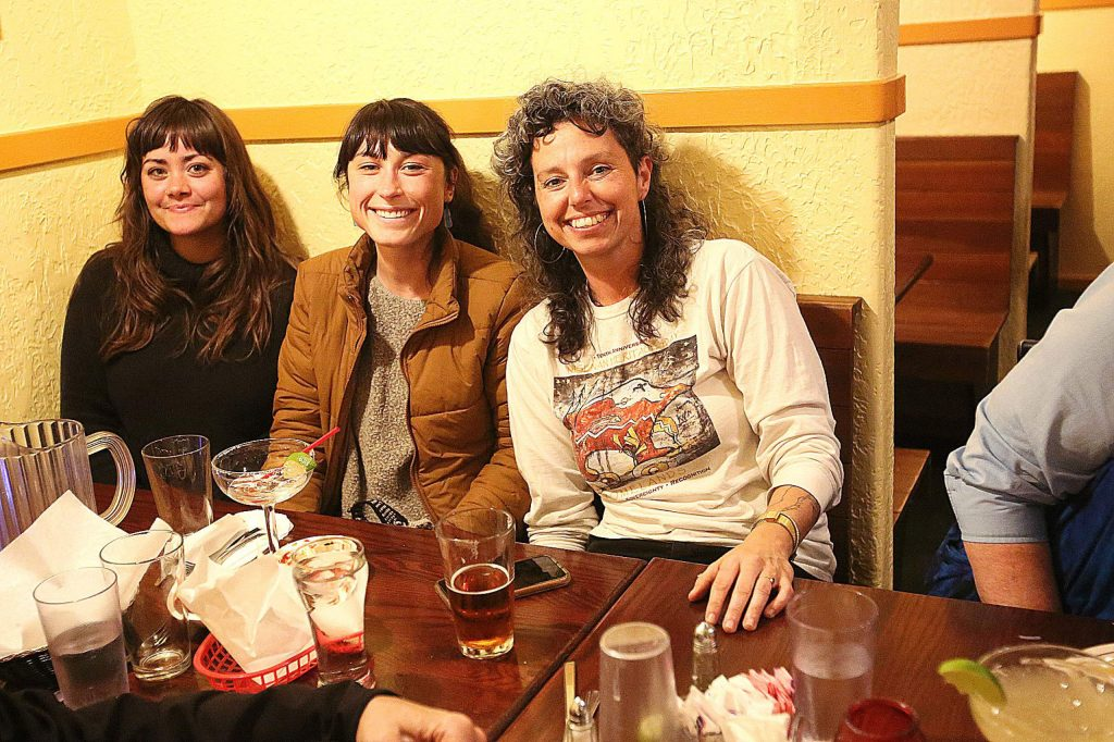 Nevada City Council candidate Daniela Fernandez sits with her friends, family, and campaign supporters Tuesday evening at Margarita's Restaurant in Nevada City.