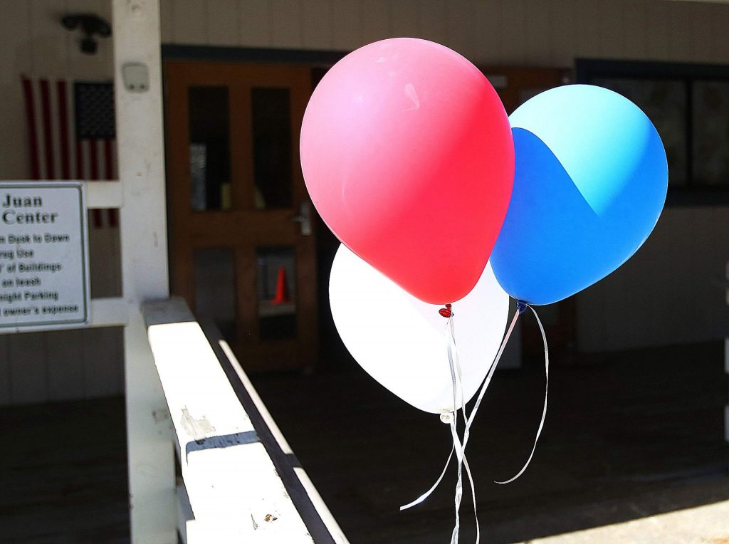 Balloons welcome voters at the North San Juan vote center located at the North San Juan Community Center.