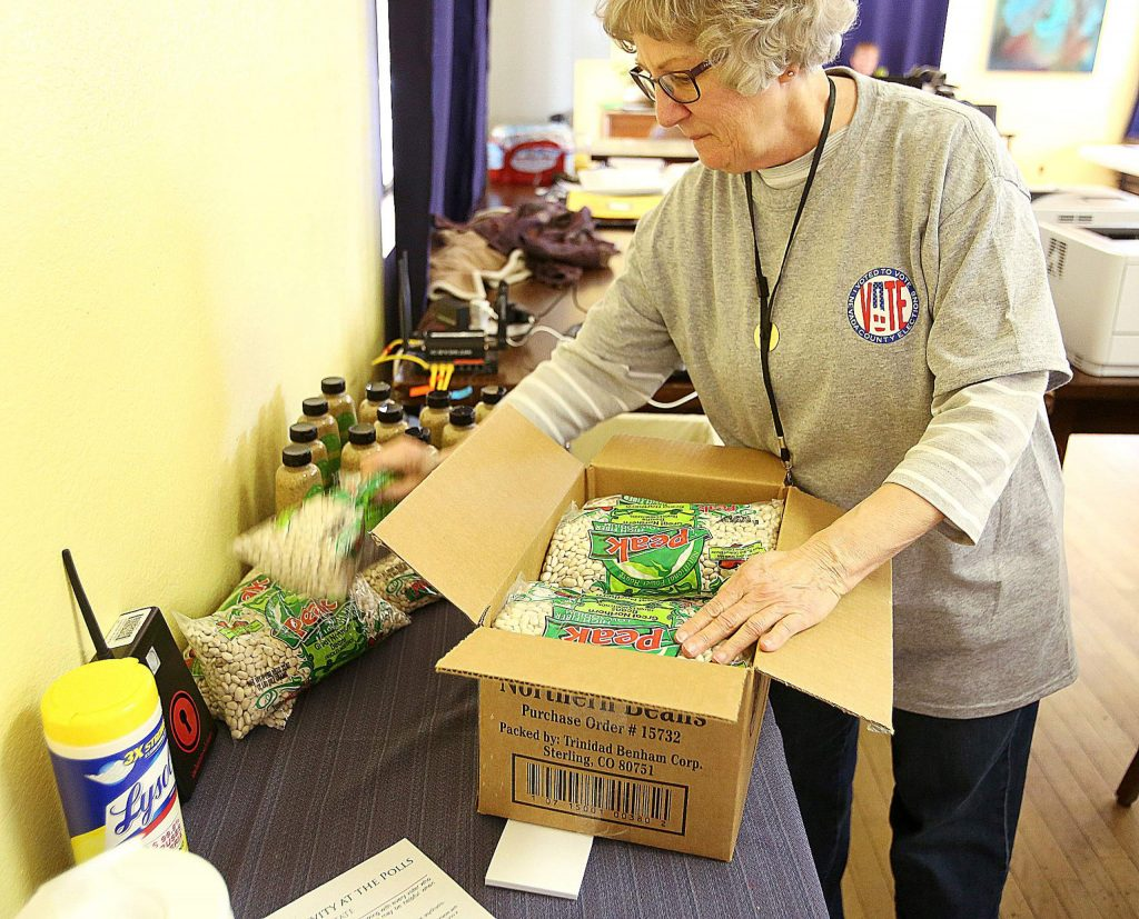 Lima beans and dijon spread given away for free were added incentives to get to the North San Juan vote center.