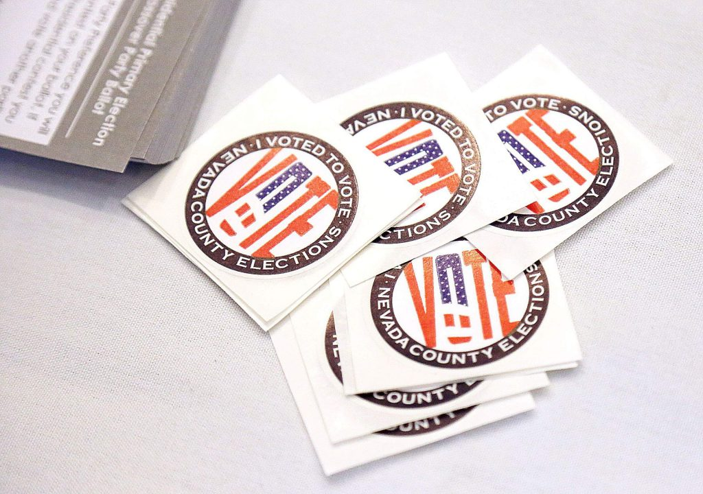 Special Nevada County I voted stickers are ready for voters at area vote centers which include the Rood Center, Gold Miners Inn, Best Western, Higgins Lions Community Center, and Penn Valley Fire Station 43. More vote centers will open up on Tuesday.