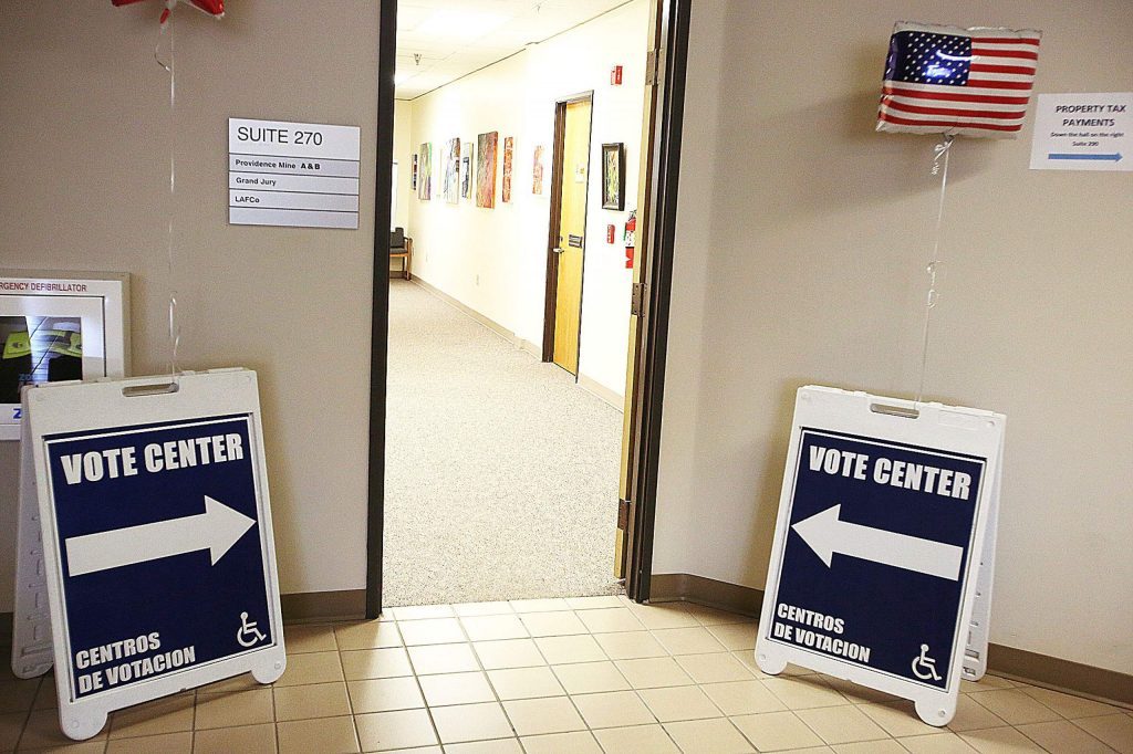 Signs clearly show the path to the Nevada City vote center located on the second floor of the Rood Government Center.