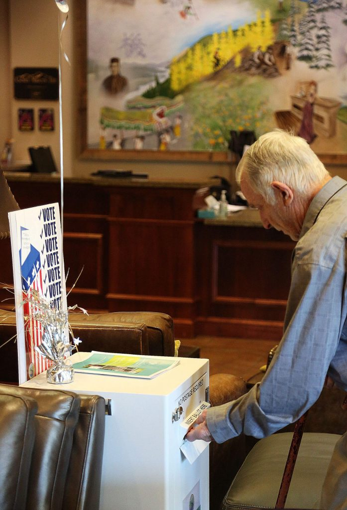 A drop box is set up in the lobby of the Gold Miners Inn for those with mail in ballots, while the vote center is located in the conference center.