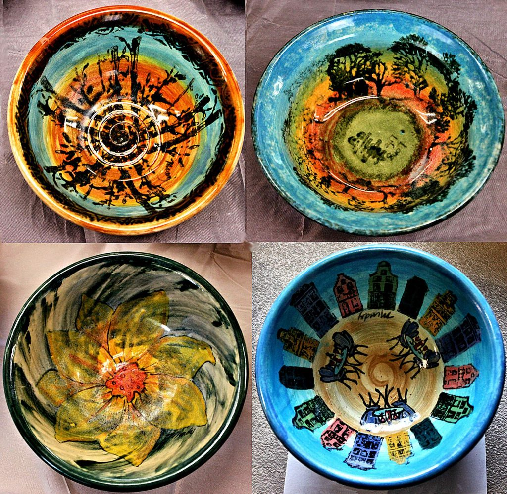 Colorful bowls from past Empty Bowl events.