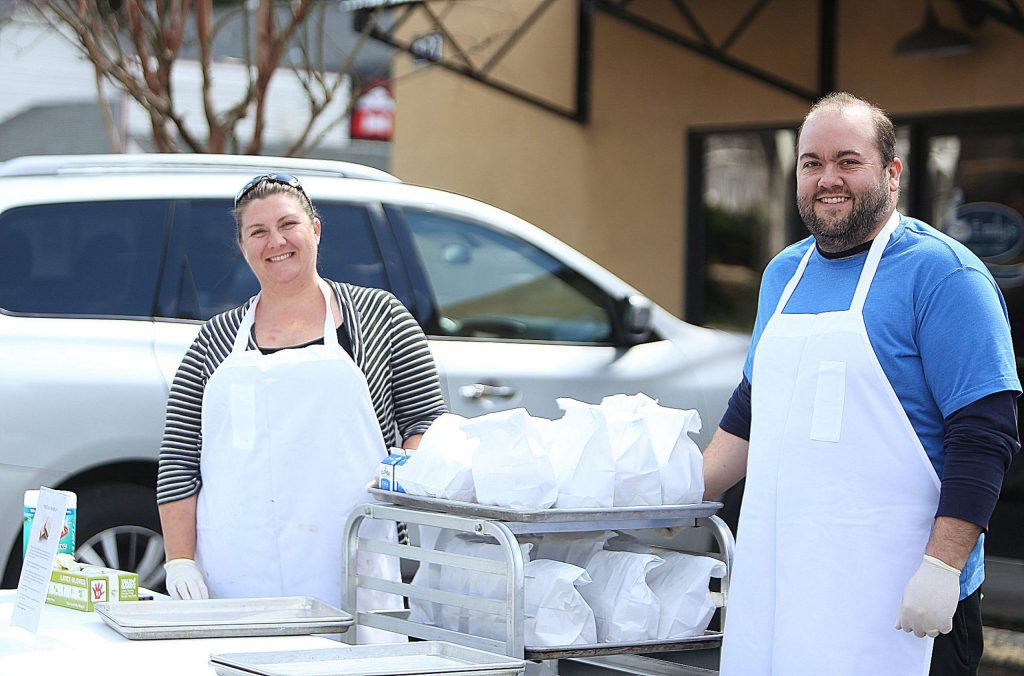 With the help of community support and donations, Emily Scott and John Arbaugh of Emily's Catering and Cakes, are able to make the Friday lunch donations happen for the next three consecutive Friday's from 12 to 1 p.m. in front of their business at 421 Colfax Highway in Grass Valley.