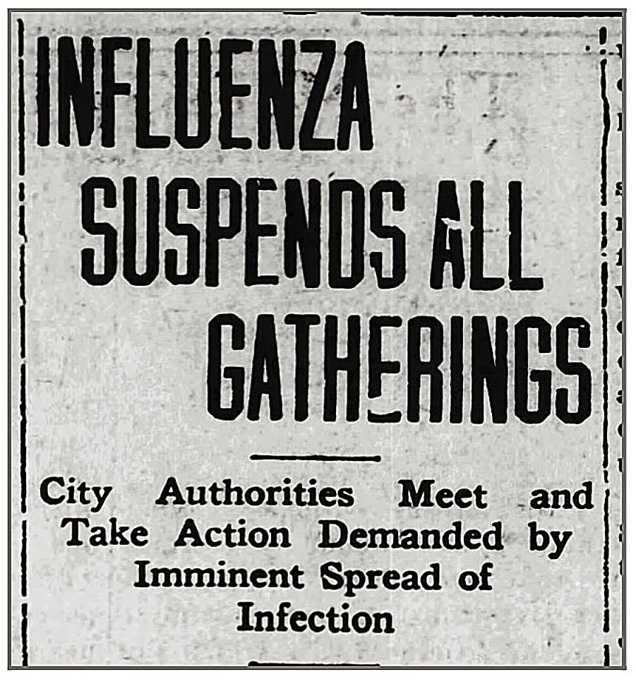 In late-October 1918, Nevada City and Grass Valley adopted emergency ordinances aimed at trying to stem the Spanish flu's impacts. Masks became mandatory and many businesses and community events were ordered closed.