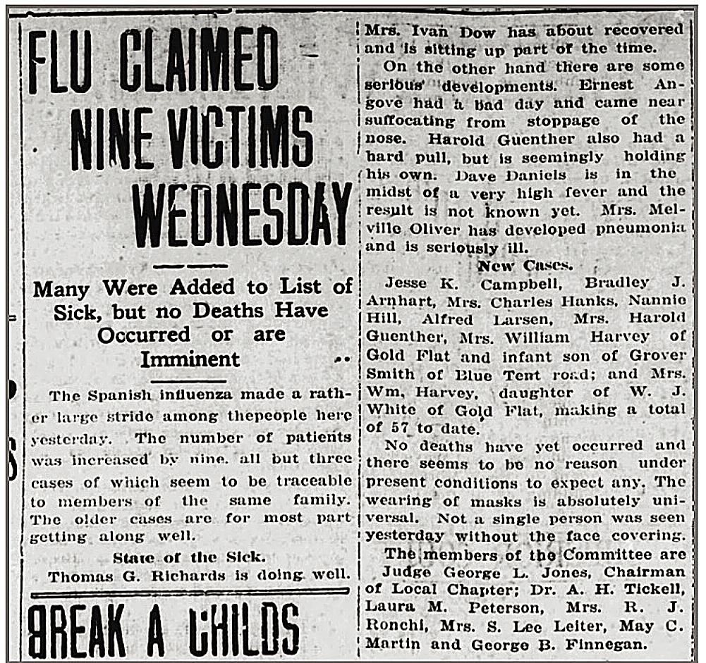 Although no deaths had occurred as of Oct. 31, 1918, that would change a day later. Meanwhile, confirmed cases of the Spanish flu increased daily.