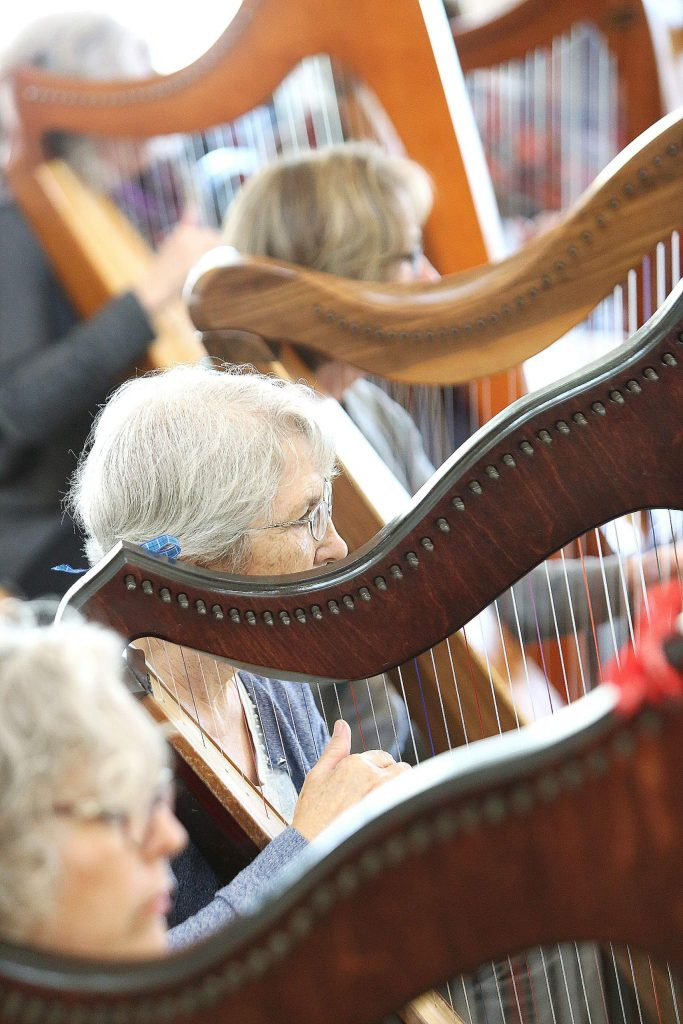 Nearly 40 harps of all shapes and sizes could be seen and heard during Friday's harp workshop at Peace Lutheran Church.