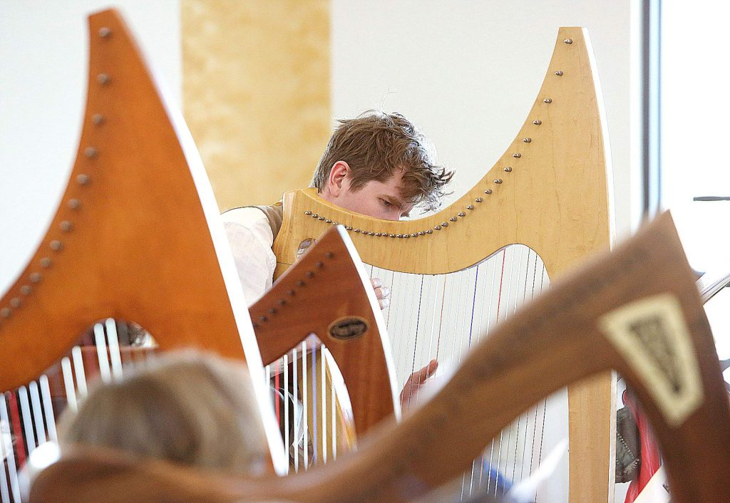Dalrymple MacAlpin plays the harp as part of the advanced group of learners during Friday's workshop led by Christina Tourin. MacAlpin also performs with storytelling, puppetry and poetry.