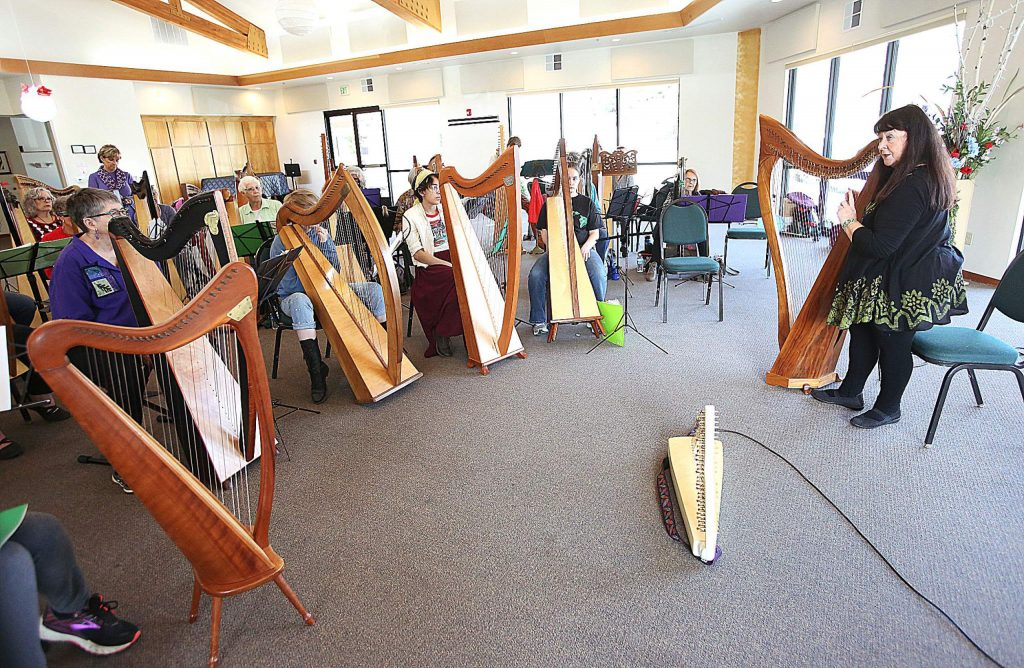 """""""When we go into a (neonatal intensive care unit) we listen to the beeping machines,"""" harpist Christina Tourin says to attendees. """"Find the sound around you and harmonize with it."""""""