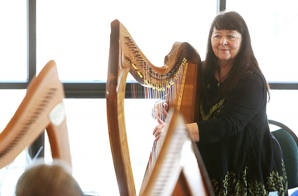 World renowned harpist Christina Tourin led Friday's harp workshop at the Peace Lutheran Church in Grass Valley. A concert followed the workshop.