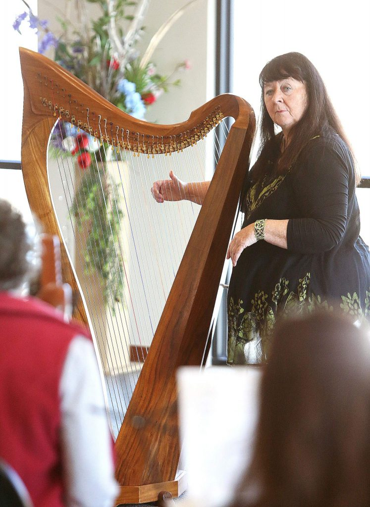 Harpist Christina Tourin gives insight to some of her techniques when playing for therapeutic purposes during Friday's harp workshop at Peace Lutheran Church.