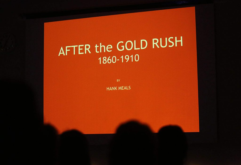 The After the Gold Rush topic discussed investors and stockholders in Sierra Nevada land and mining, the transcontinental railroad, lumbering, the Chinese Exclusion Act, hydraulic mining, the Sawyer Decision, the Dawes Act, hard rock mining, and grazing. Slideshows rich in historical drawings, paintings, and photographs that Meal's has found along the way accompany his talks.
